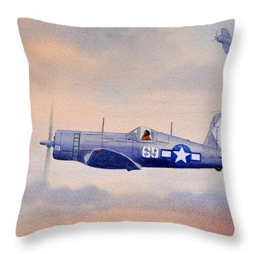 Vought F4u-1d Corsair Aircraft Throw Pillow by Bill Holkham