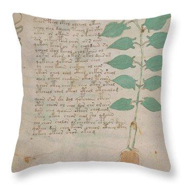 Voynich Flora 07 Throw Pillow