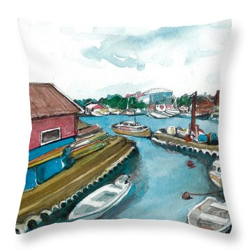 Throw Pillow featuring the painting Vp Norway 5 Thorsastraen by Lynn Babineau
