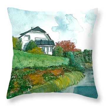 Throw Pillow featuring the painting Vp Norway  8 Knud Baades Gate by Lynn Babineau