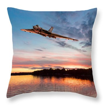 Throw Pillow featuring the digital art Vulcan Low Over A Sunset Lake by Gary Eason