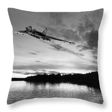 Throw Pillow featuring the digital art Vulcan Low Over A Sunset Lake Sunset Lake Bw by Gary Eason