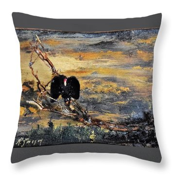 Vulture With Oncoming Storm Throw Pillow