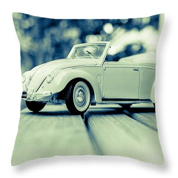 Vw Beetle Convertible Throw Pillow by Jon Woodhams