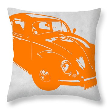 Vw Beetle Orange Throw Pillow