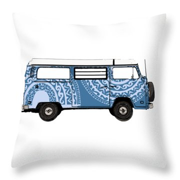 Vw Blue Van Throw Pillow