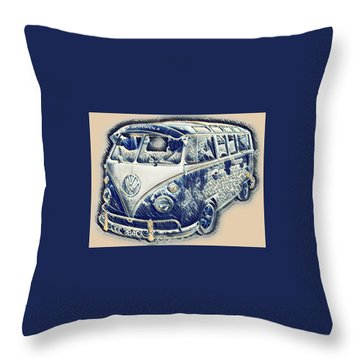 Vw Camper Van Waves Throw Pillow