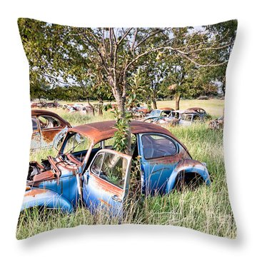Vw Graveyard Throw Pillow by Lawrence Burry