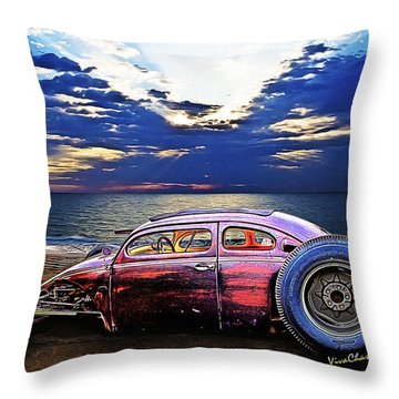 Rat Rod Surf Monster At The Shore Throw Pillow