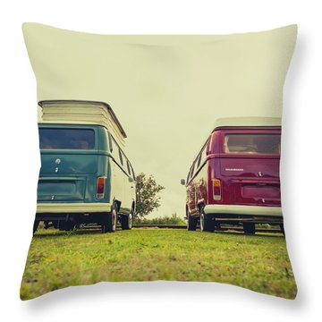 Blue And Red Vw T2 Camper Vans Throw Pillow
