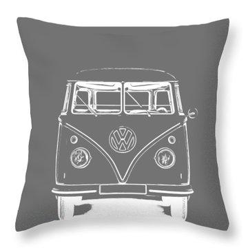 Vw Van Graphic Artwork Tee White Throw Pillow