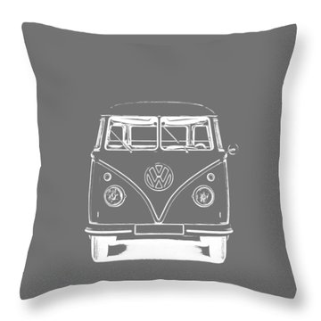 Throw Pillow featuring the photograph Vw Van Graphic Artwork Tee White by Edward Fielding
