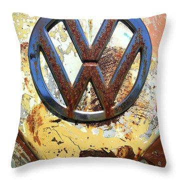 Vw Volkswagen Emblem With Rust Throw Pillow