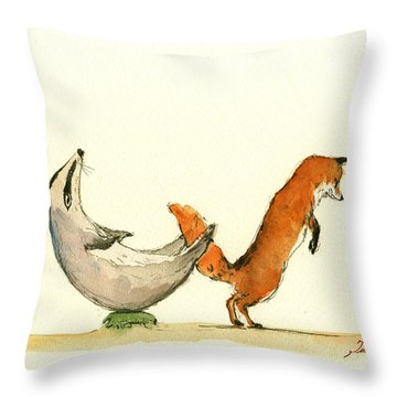 W Letter Woodland Animals Throw Pillow