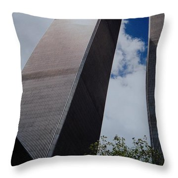 W T C 1 And 2 Throw Pillow by Rob Hans