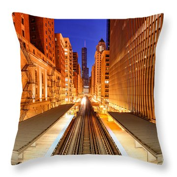 Wabash And Adams -l- Cta Station And Trump International Tower Hotel At Dawn- Chicago Illinois Throw Pillow