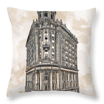 Throw Pillow featuring the painting Wabash Station Pittsburgh, Pennsylvania, Circa 1905 by Andrzej Szczerski