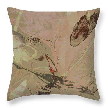 Wabi-sabi Ikebana Remix Warm Taupes Throw Pillow