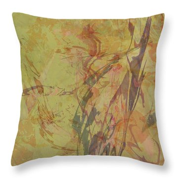 Wabi Sabi Ikebana Rose On Yellow Green Throw Pillow