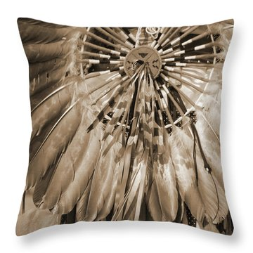 Throw Pillow featuring the photograph Wacipi Dancer In Sepia by Heidi Hermes