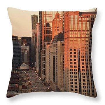 Wacker Drive Sunset Chicago Throw Pillow