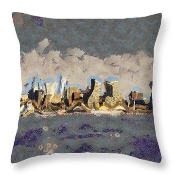 Wacky Philly Skyline Throw Pillow by Trish Tritz