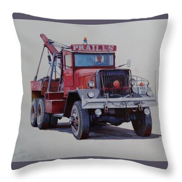 Throw Pillow featuring the painting Ward La France Wrecker by Mike Jeffries