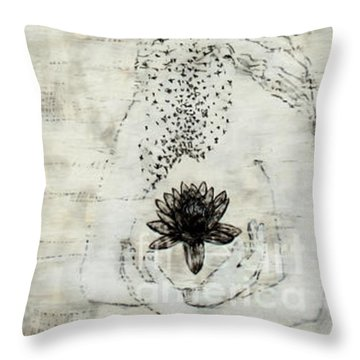 Wader With Lotus Flower Throw Pillow