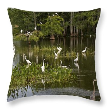 Wading Birds Throw Pillow