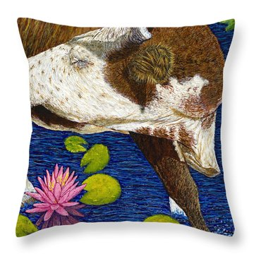 Wading Repose Throw Pillow by David Joyner