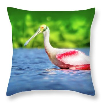 Wading Spoonbill Throw Pillow by Mark Andrew Thomas