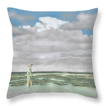 Wading The Salt Flats Throw Pillow