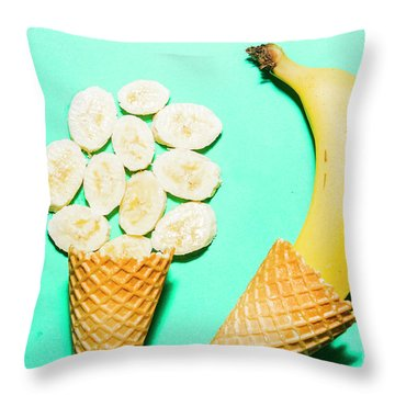 Waffle Cones With Fresh Banana Throw Pillow