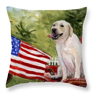 Wag The Flag Throw Pillow by Molly Poole