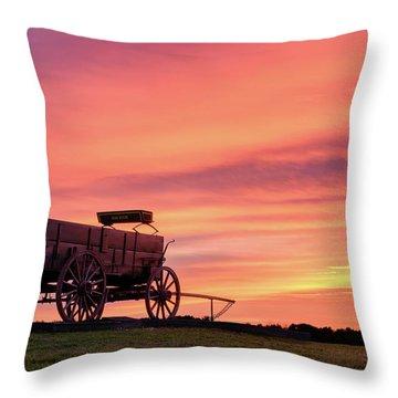 Wagon Afire Throw Pillow