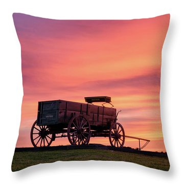 Wagon Afire Throw Pillow