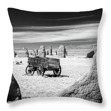 Wagon At Fort Union Throw Pillow by James Barber