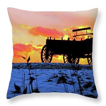 Wagon Hill At Sunset Throw Pillow