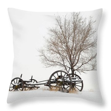 Wagon In The Snow Throw Pillow