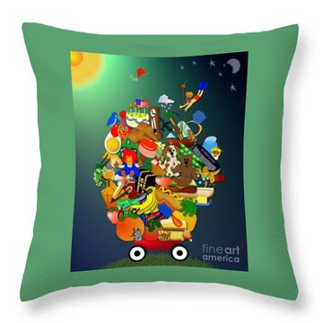 Wagon Of Toys Without White Frame Throw Pillow by Bob Winberry