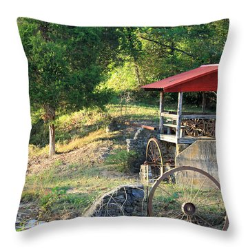 Wagon Shed Throw Pillow by Suzanne Gaff