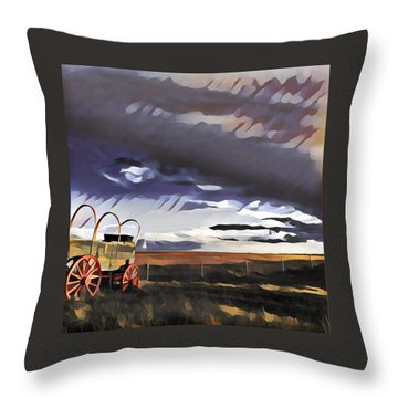 Wagon Train Throw Pillow