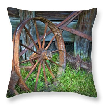 Throw Pillow featuring the photograph Wagon Wheel And Fence by David and Carol Kelly