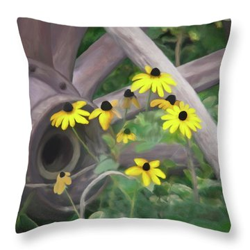 Wagon Wheel Throw Pillow by Ernie Echols