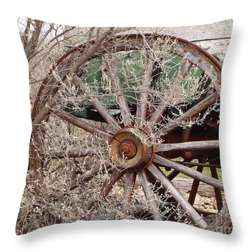 Wagon Wheel Throw Pillow by Robert Frederick