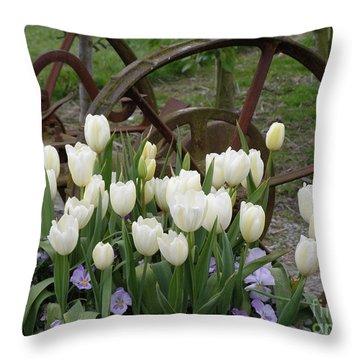 Wagon Wheel Tulips Throw Pillow