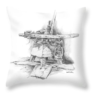 Wagon Wheel Work Bench Throw Pillow