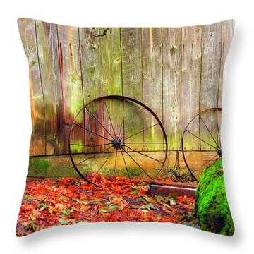 Wagon Wheels And Autumn Leaves Throw Pillow