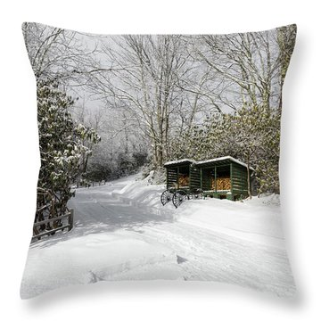 Wagon Wheels And Firewood Throw Pillow