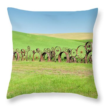 Wagon Wheels Stacked Palouse Washington Throw Pillow by James Hammond